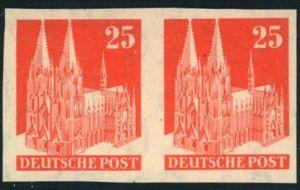 1951, 25 Pfg. Kölner Dom postfrisch in guter Type IV im vierseitig ungezähnten waagerechten Paar.
