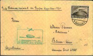 1931, 4 RM Polarfahrt auf Zeppelinumschlag zur ersten Südamerikafahrt 1931 adressiert nach Buenos Aires. Transit- und An