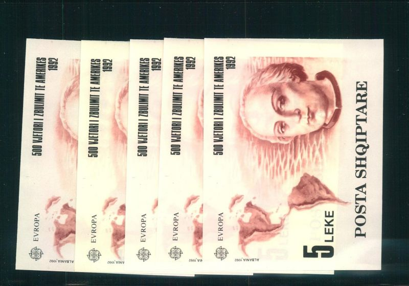 1992,ALBANIA; CEPT; Michel Blockt 97, 5 pieces mnh - COLUMBUS, Colon