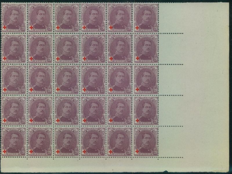 1914, Red Cross, 20 C+20 C, 200 pieces in large units no gum