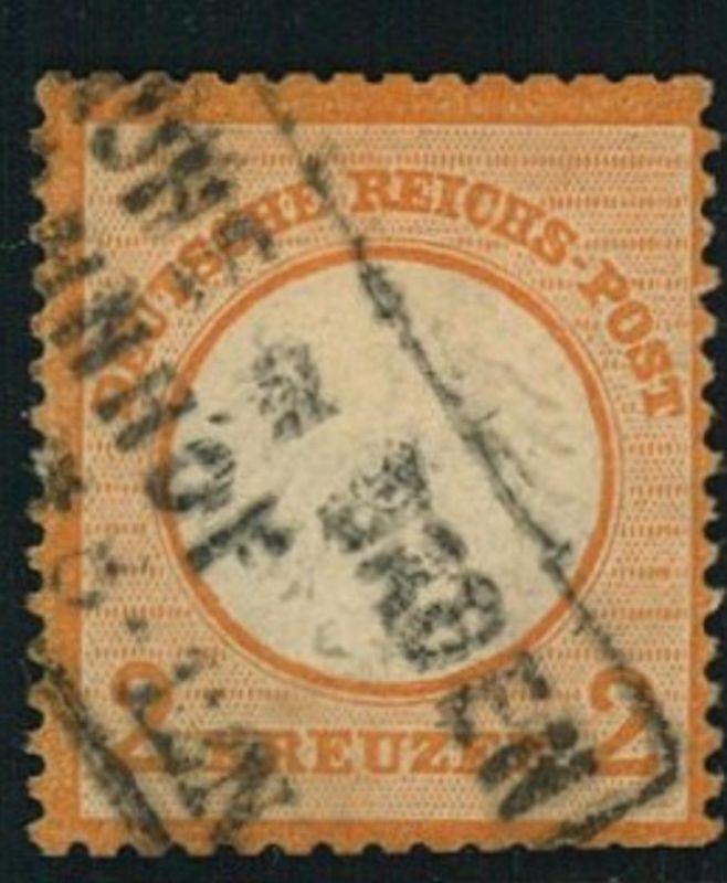 1872, Michelnummer 15 gestempelt 2 Kreuzer kleiner Brustschild