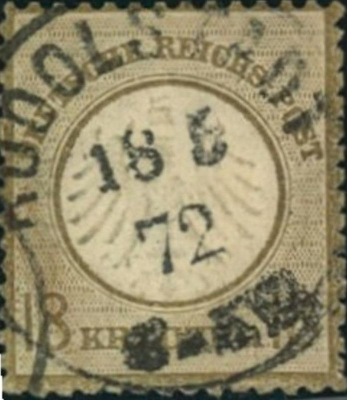 1872, Michelnummer 11, gestempelt 18 Kreuzer kleiner Brustschild