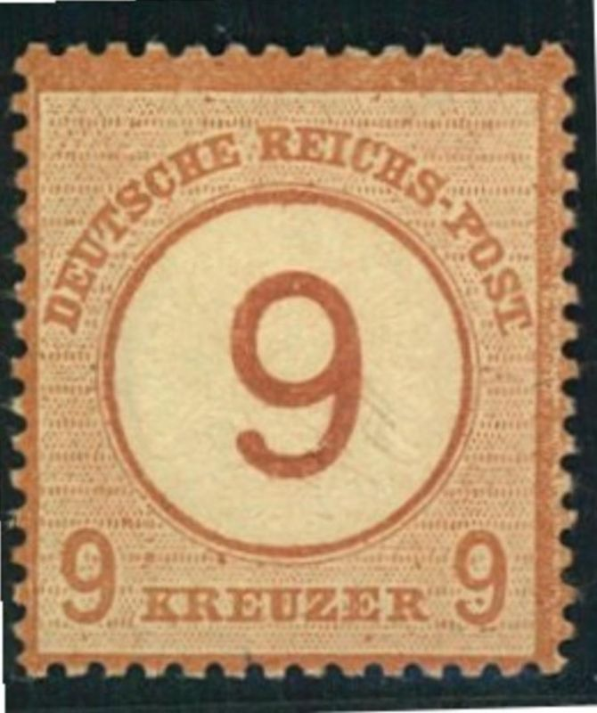 1872, Michelnummer 30, ungebraucht 9 auf 9  Kreuzer Brustschild