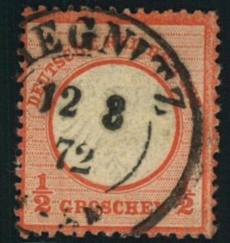 1872, Michelnummer 3, gestempelt 1/2 Groschen kleiner Brustschild