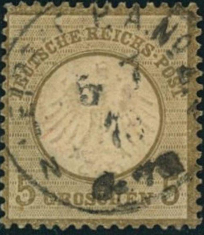 1872, Michelnummer 6, gestempelt 5 Groschen kleiner Brustschild