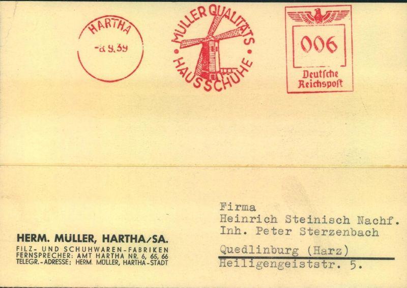 1939, HARTHA Firmenkarte mit Absenderfreistempel, interessanter Text, Reklame, Windmühle