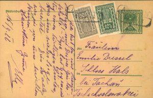 1922, Postkarte im Sondertarif in die CSR