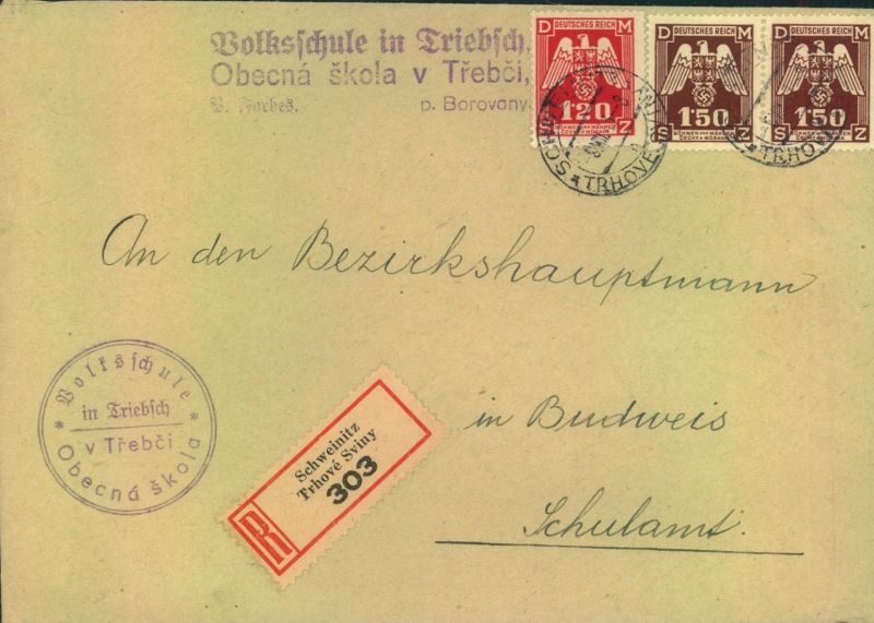 1944, Dienst-Einschreiben ab SCHWEINITZ nach Budweis