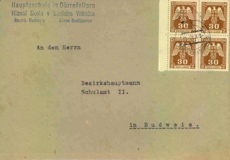 1944, Dienstbrief mit Viererblock 30 H ab Dürnfellern