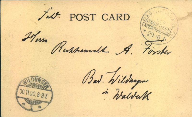 1900, BOXERAUFSTAND, AK PEKING per Feödpost
