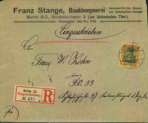 1901, 25 Pfg. Germania Reichspost als EF auf Orts-R-Brief in Berlin