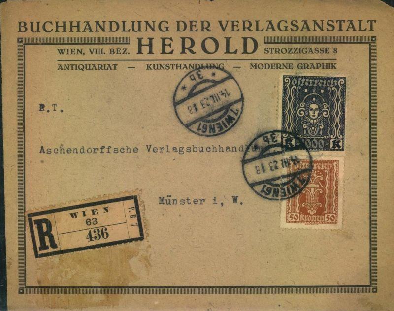 1917, R-Brief ab Wien Ausgaben Mischfrankatur