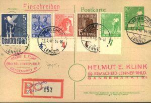 1947/1948, Markwerte Arbeiterserie auf 2 R-Karten ab REMSCHID/LENNEP. 3 und 5 Mark geprüft