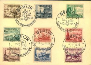 1937, WHW Schiffe komplett mit SSt auf blanko Postkarte