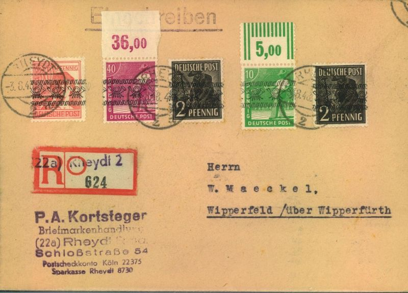 1948, Einschreiben mit Band-Frankatur dabei Mi-Nr. 47 I P OR und 39 I W OR