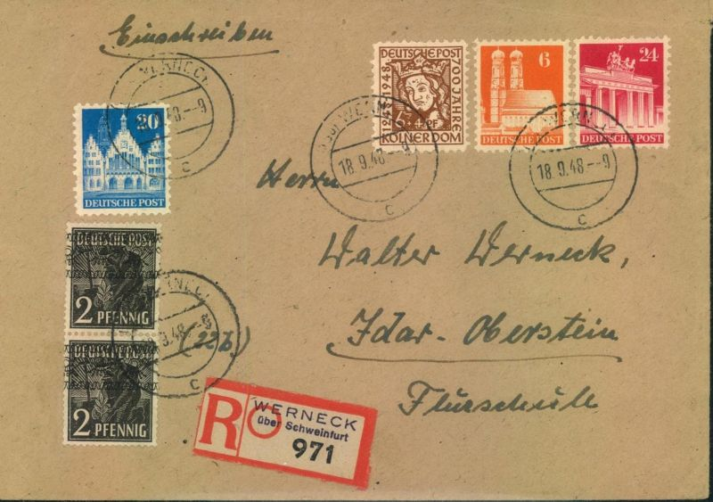 1948, Einschreiben mit seltener Mischfrankatur Bauten, Band und Kölner Dom - WERNECK 18.9.48