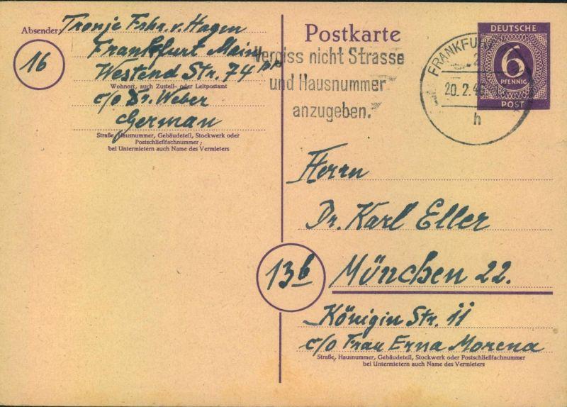 1946, 6 Pfg. Ziffer Ganzsachenkarte ab FRANKFURT (MAIN) 20.2.46 (P 951) - Frühverwendung