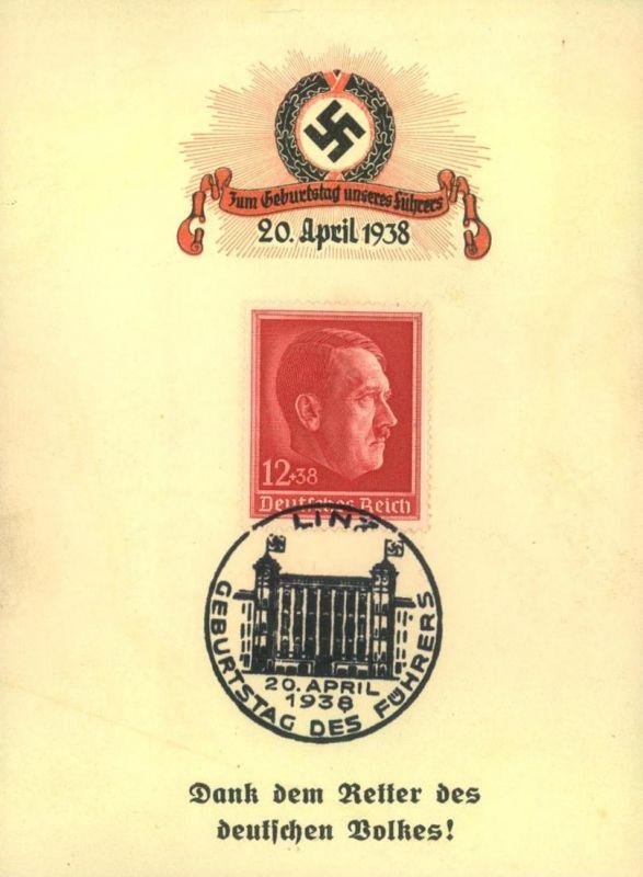 1938, klein Sonderkarte zum Anschluß Österreichs SSt LINZ