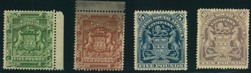BRITISH SOUTH AFRICA COMPANY, 1892/1901, 5 and 10 Pound definitives no gum