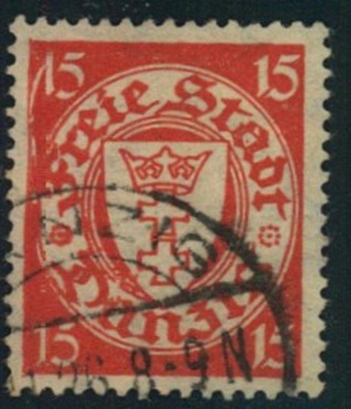 1924, 15 Pfg. Wappen itPlattenfehler langer Anstrich der linken