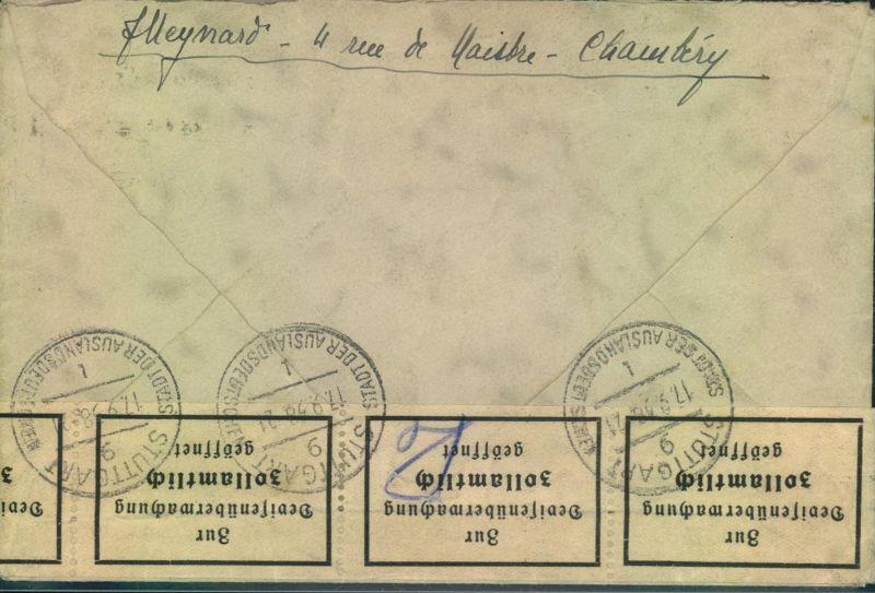 1938, Brief aus Frankreich mit Devisenzensur nach München