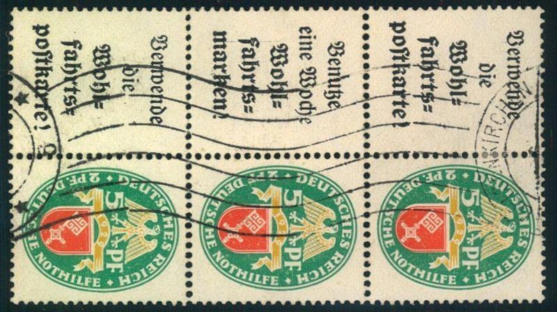 1929, 5 Pfg. Nothilfe, 3 Zusammendrucke mit Werbung senkrecht zusammenhängend. Selten