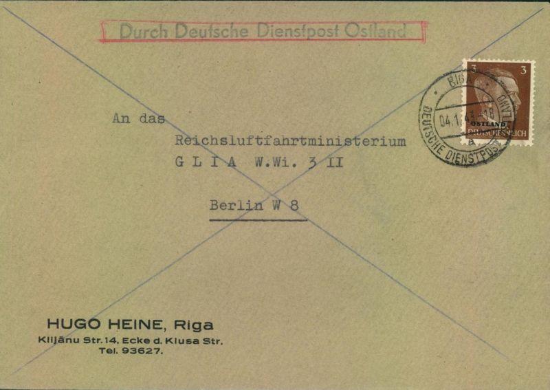1943, Drucksache Deutsche Dienstpost HUGO HEINE (Propeller), RIGA