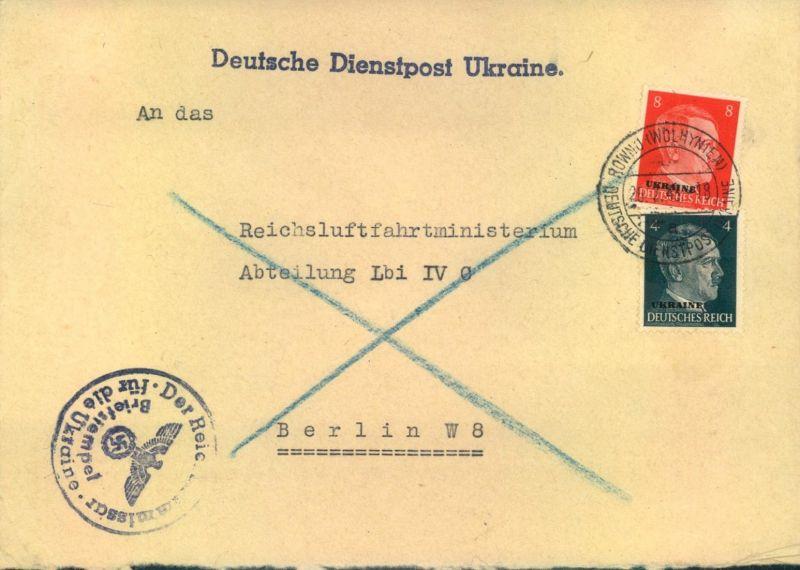 1943, Einschreiben DDP UKRAINE, ROWNO (WOHLHYNIEN) an Reichsluftfahrtministerium