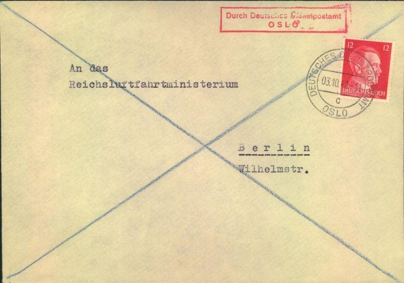1943, DEUTSCHE DIENTPOST OSLO, to Reichsluftfahrtministerium (h. Göring)