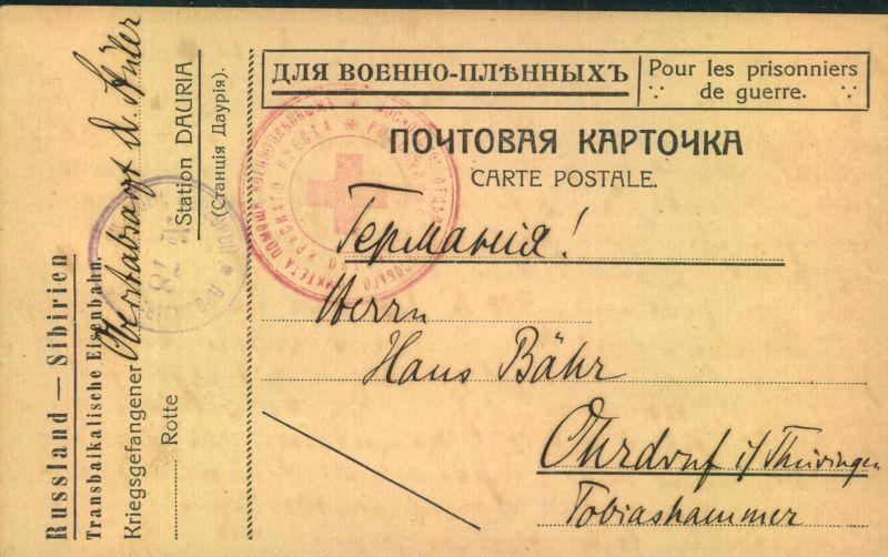 1916, Kriegsgefangenenkarte aus Russland-Sibirien nach OHRDRUFF, Thüringen