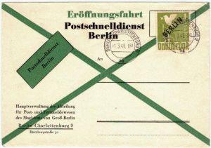 1949: Ersttagsbrief 1 Mark Schwarzaufdruck auf Blankoumschlag mit Minutenstempel BERLIN-CHARLOTTENBURG 2 bg 1.3.49 - 8.4
