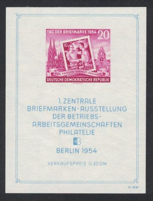1954, Ausstellungsblock mit Plattenfehler Punkt in zweitem