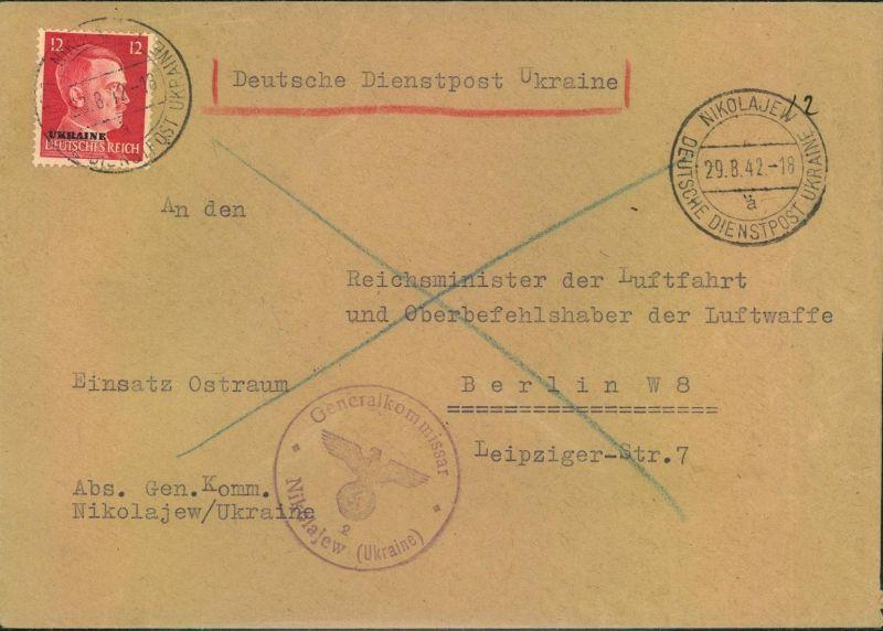 1942, DEUTSCHE DIENSTPOST UKRAINE- NIKOLAJEW an Reichsluftfahrtministeriu