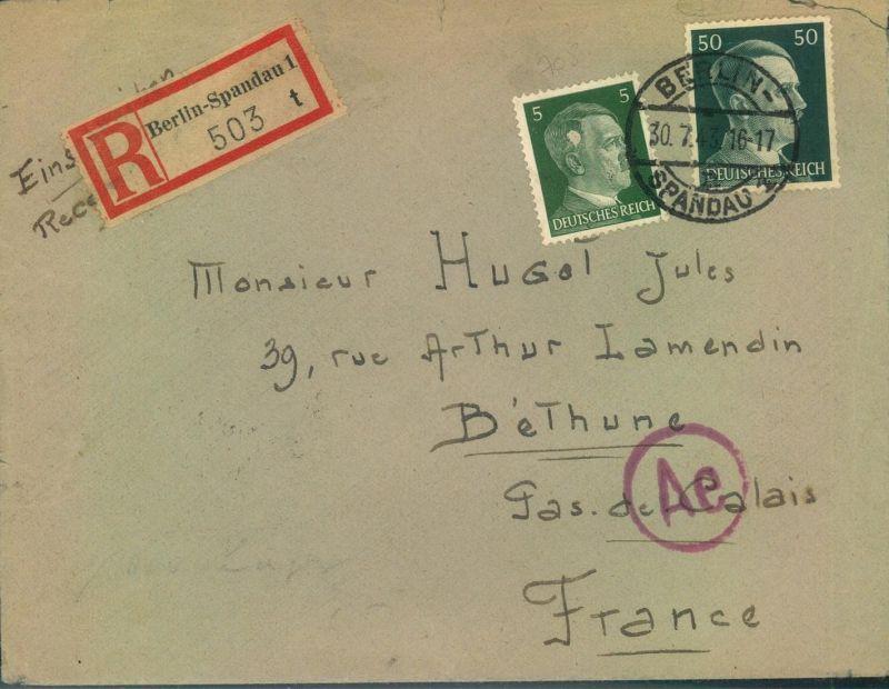 1943, ZWANGSARBEITERPOST - Barackenlager BERLIN-SPANDAU; Einschreiben nach Frankreich