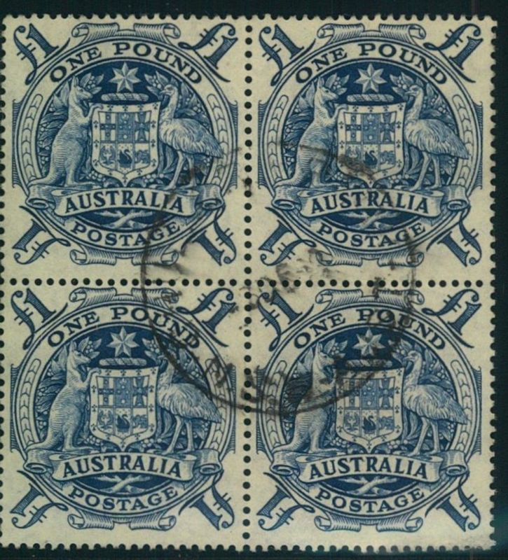 1949, 1 Pound block of four, centric cancellation, vf/superbe