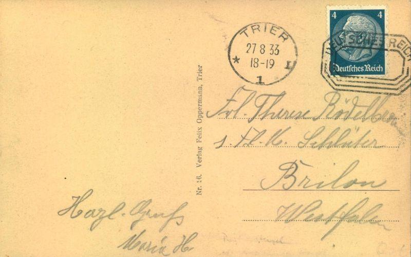 1933, TRIER, Postfreistempel als Entwerter. aus Postkarte
