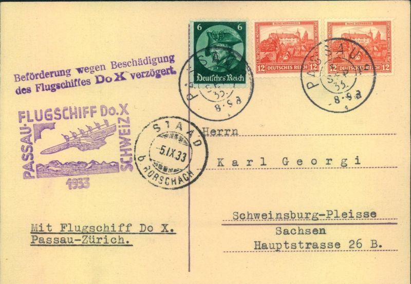1933, FLUGSCHIFF DO-X PASSAU-SCHWEIZ, Karte mit Verzögerungsstempel