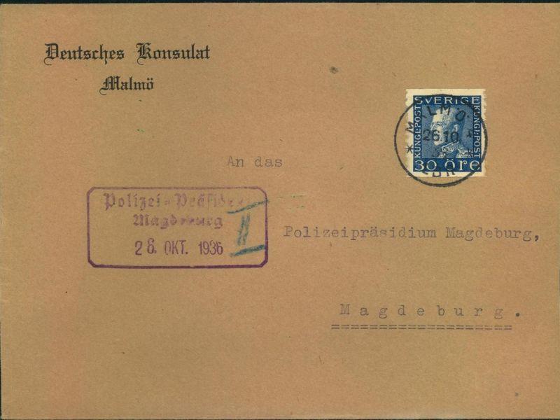 1936, DEUTSCHES KONSULAT MALMÖ, Brief nach Madgeburg