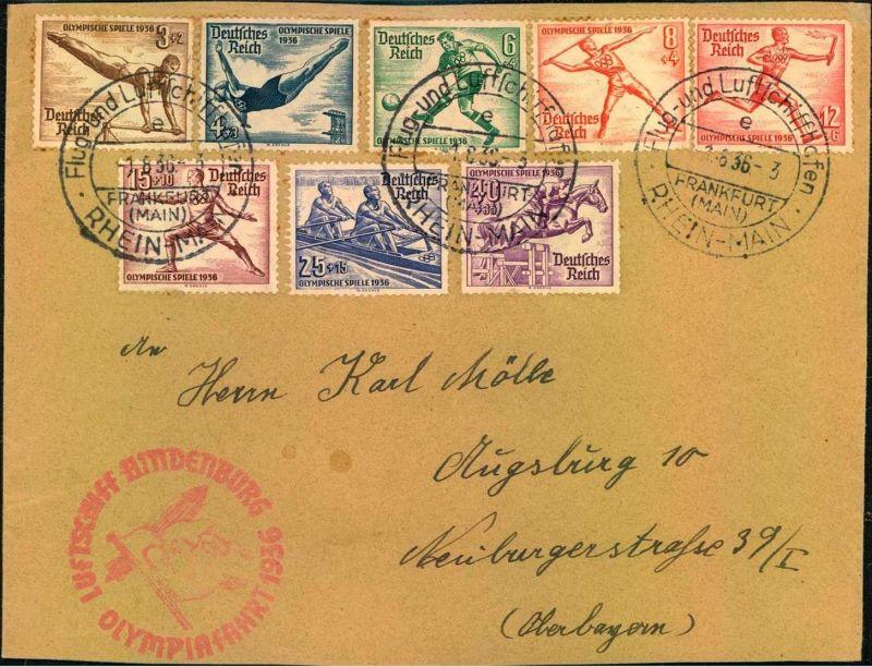 1936: Brief zur Olympiafahrt LZ 129 ab FRANKFURT (MAIN) Flug- und Luftschiffhafen. Frankiert mit komplettem Olympiasatz.