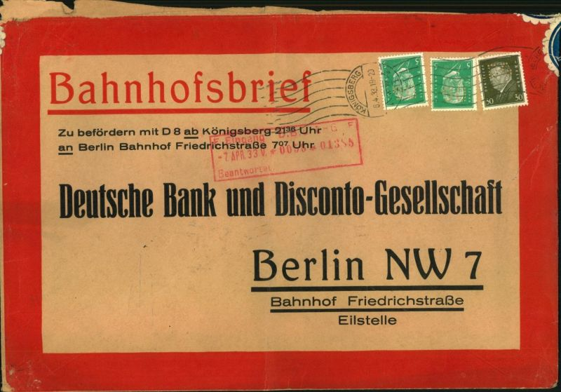 1933, Bahnhofsbrief (ca. 26 x 16,5 cm) mit Rollstempel