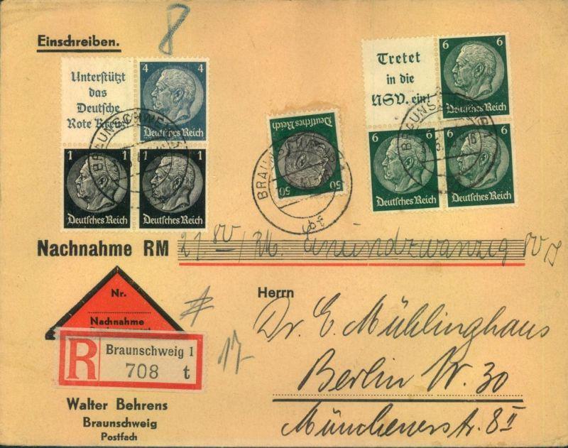 1940, Naxchnahme per Einschreiben ab BRAUNSCHWEIG - Zusammendrucke, seltene 74 Pfg. Portostufe