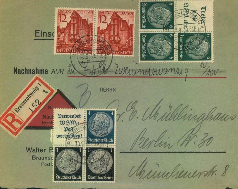 1939, Naxchnahme per Einschreiben ab BRAUNSCHWEIG - Zusammendrucke, seltene 74 Pfg. Portostufe