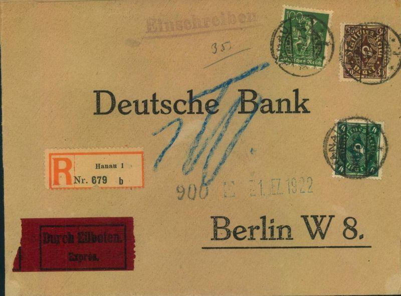 1922, Bankbrief Einschreiben/Eilboten ab HANAU nach Berlin.