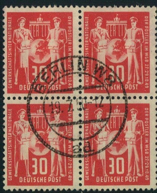 1949, 30 Pfg. Postgewerkschaft im zentrisch gestempelten Viererblock