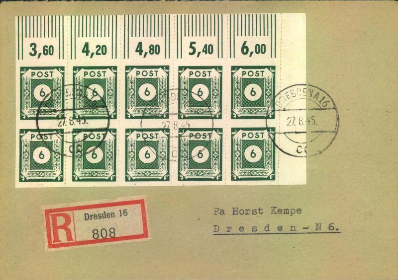 1945, OST-SACHSEN, 6 Pfg. nur senkrecht durchstochen mit Eckrand-10-er-Block geprüft Ströh BPP