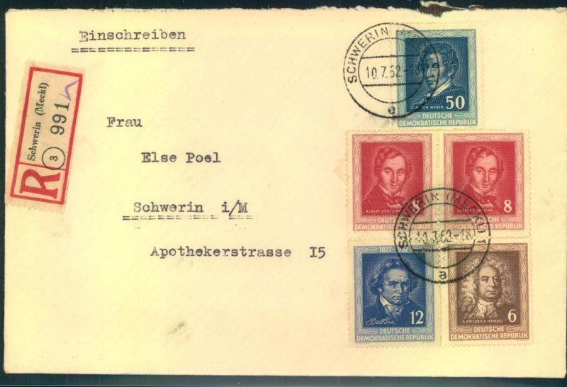1952, composer Weber, Lortzing, Beethofen, Händel, registered SCHWERIN, GDR