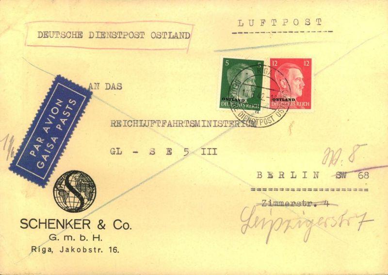 1942, 17 Pfg. Luftpostfrankatur auf Firmenbrief ab RIGA an das Reichsluftfahrtministerium