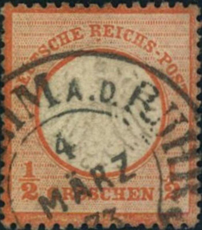 1872: Michel-Nr. 14, 1/2 Groschen kleiner Brustschild, Teil HE-Stempel