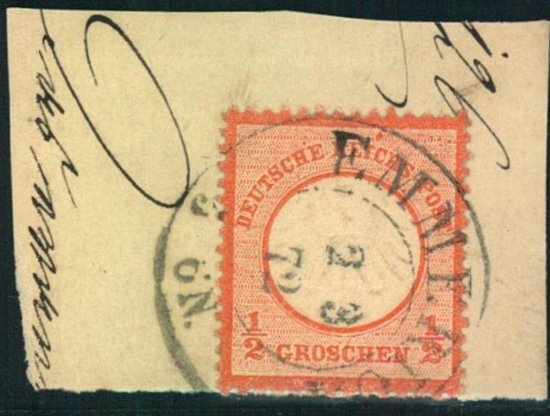1872: Michel-Nr. 14, 1/2 Groschen kleiner Brustschild, Briefstück EMMERICH