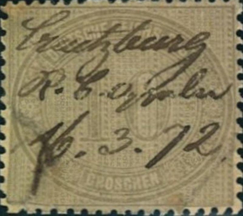 1872: Michel-Nr. 12, 10 Groschen Innendienst, Federzug